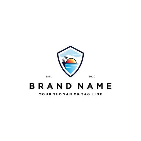 beach shield logo design concept vector template Logos