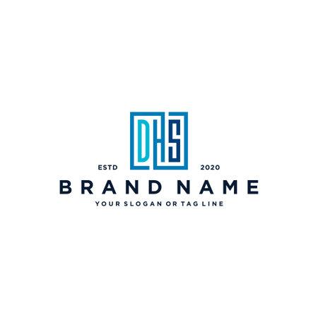 letter DHS square logo design vector template Logó