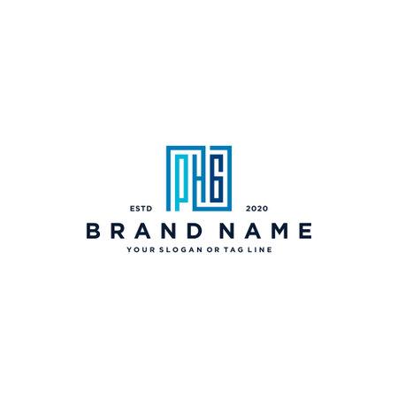 letter PHG square logo design vector template