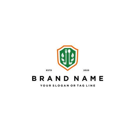 healthy food shield logo design vector template