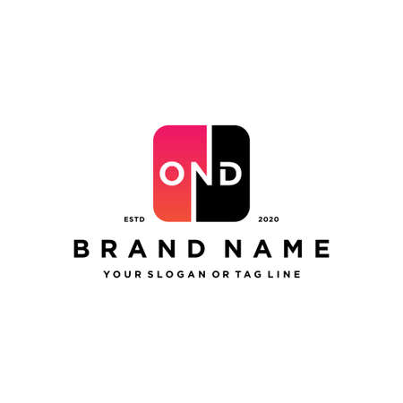 letter OND rounded gradient square color logo design vector template