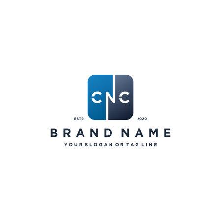 letter CNC rounded square gradient color logo design vector template