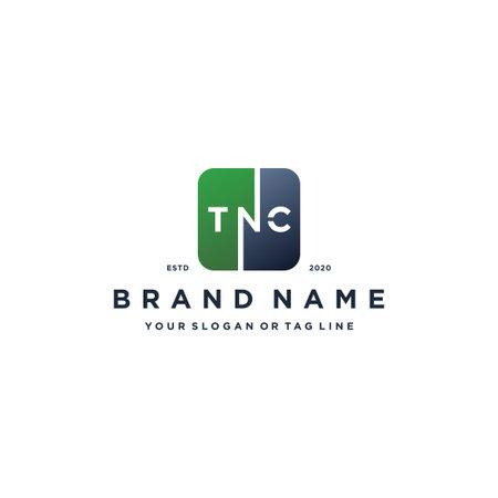 letter TNC rounded square gradient color logo design vector template