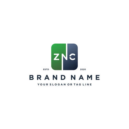 letter ZNC rounded square gradient color logo design vector template
