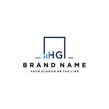 letter HG square logo finance design vector template