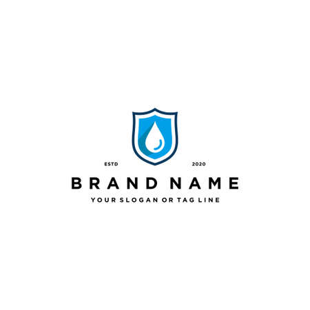 water droplets shield logo design vector template