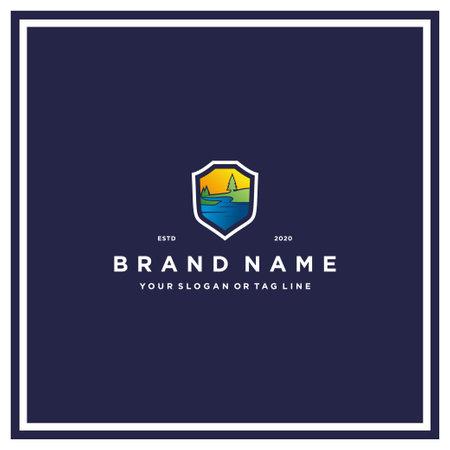 river and shield logo design vector template