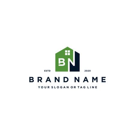 letter BN home logo design vector template