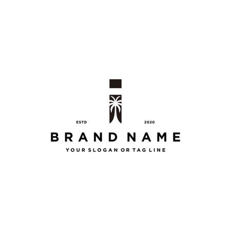 letter I palm logo design concept vector template