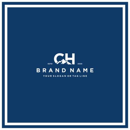 letter CH mountain logo design vector template Ilustração