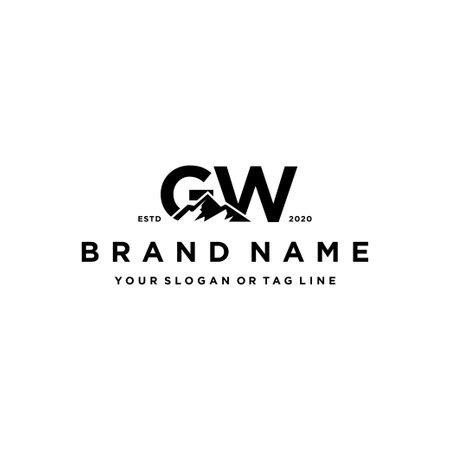 letter GW mountain logo design vector template Logo