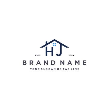 letter HJ home logo design vector template