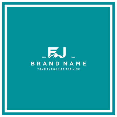 letter FJ mountain logo design vector template