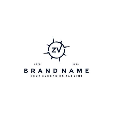 letter ZV compass logo design vector template