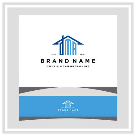 letter DMA home roof logo design and business card vector template