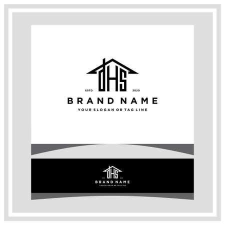 letter DHS home roof logo design and business card vector template Logó