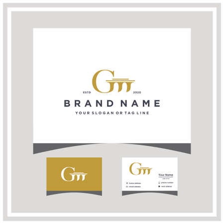 letter GM law logo design and business card vector template