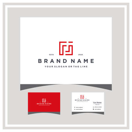 letter FJ logo design and business card vector template