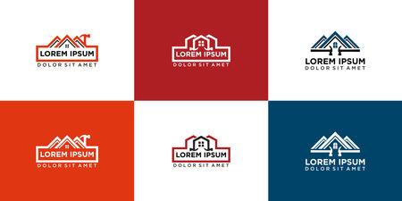 set house renovation logo icon design vector template