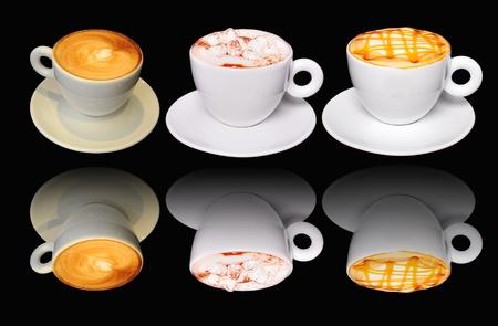 dulce de leche: Tres tazas de caf� varias reflexiones Foto de archivo