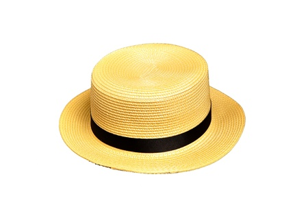 boater: A yellow boater hat with black strap
