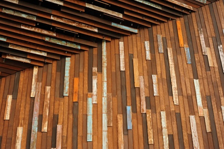 Wooden wall entrance photo