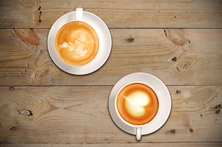 latte art: 2 cups of coffee with latte art