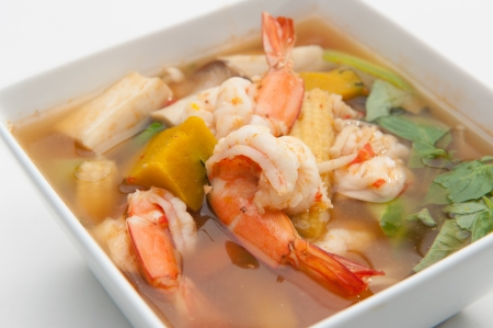 goong: Tom Yum Goong served in white bowl  Stock Photo