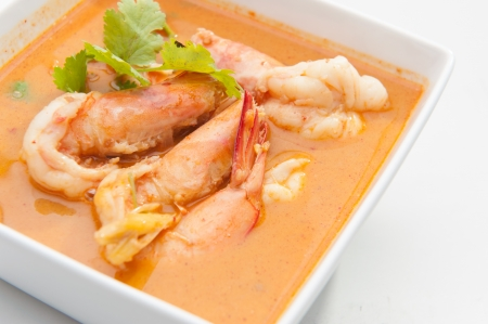 Tom Yum Goong in white square bowl  photo