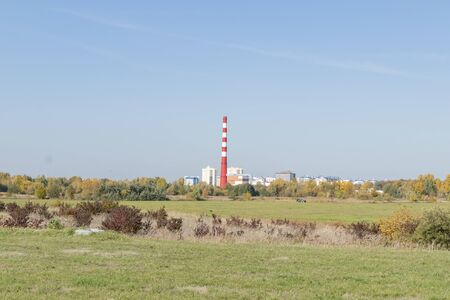 Distant view of the city's power plant