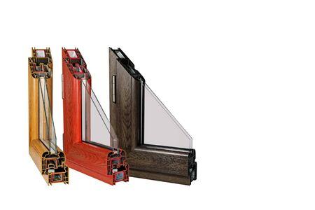 Petite disposition d'une fenêtre stratifiée en plastique sur un fond blanc Banque d'images