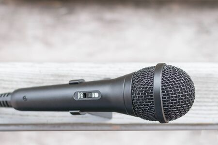 New black microphone for singing in the background