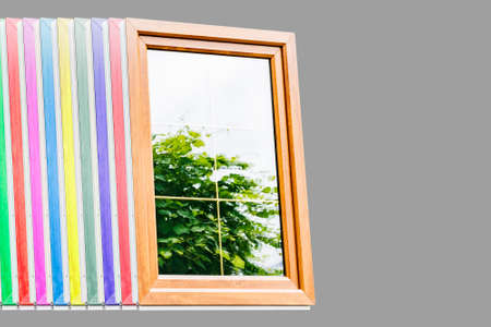 Plastic laminated Windows with partitions in mirrored double-glazed Windows