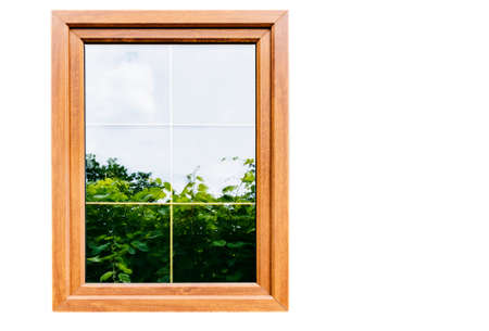 Plastic laminated window with partitions in mirrored double-glazed Windows Stockfoto