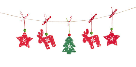 hanging wooden Christmas decorations white background