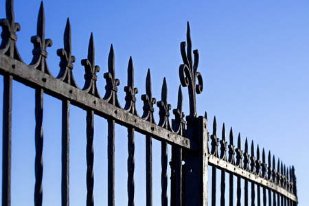 decorative steel gate against blue sky Stock Photo - 28499354