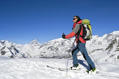 Ski mountaineering cross country skiing in Italian Alps