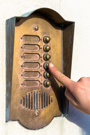 call bell: Ringing a door bell vintage