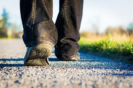 életmód: séta az úton Stock fotó