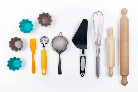 Tools pastry on white background Imagens