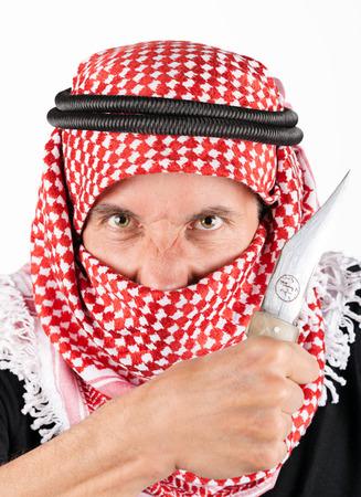 taliban: Islamic fundamentalist  terrorist with knife Stock Photo