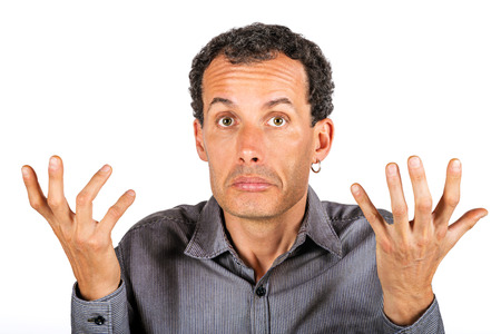 confused man giving I dont know gesture Stock Photo