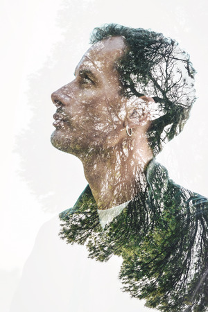 double exposure man nature portrait