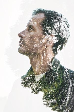 nature symbols metaphors: double exposure man nature portrait