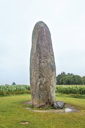 The biggest Menhir isolated in a field. Dol de Bretagne. Brittany, France
