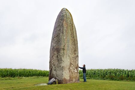 The biggest Menhir isolated in a field. Dol de Bretagne. Brittany, France Reklamní fotografie