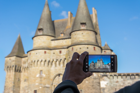 Taking picture of Château de Vitré in a beautiful sunny day. Bretagne, France 報道画像