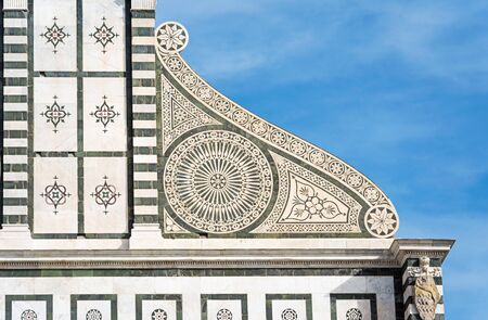 Florence: the medieval church of Santa Maria Novella, facade detail. Tuscany. Italy