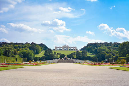 View on Gloriette structure and Neptune fountain in Schonbrunn Palace, Vienna, Austria Editorial