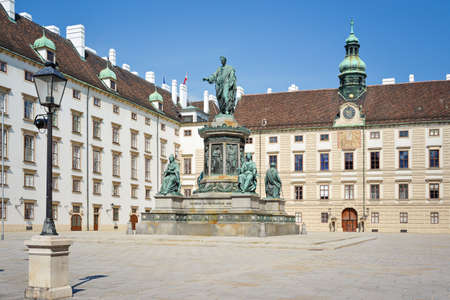 View of Statue of Emperor Francis II in the Courtyard of Hofburg, Vienna Old Town